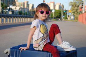 girl, suitcase, summer